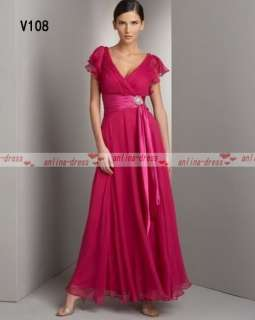 Best Sell V Neck Red Ankle Length Chiffon Evening/Bridesmaid Dress