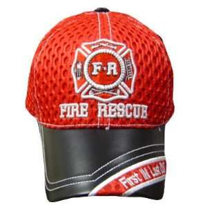 FIRE RESCUE RED FD MESH BLACK LEATHER BRIM CAP HAT OSFA