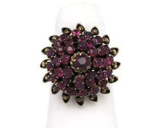 STYLISH VINTAGE 14K YELLOW GOLD & RUBIES HAREM STYLE TOP RING