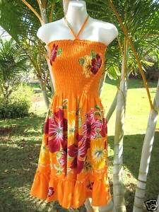 Orange w/ Red Florals Hawaiian Luau Short Halter Dress