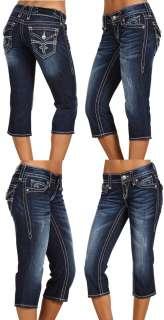 New Womens Rock Revival Jeans Noelle P14 Capri Fleur De Lis Crystals