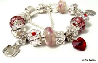 Hello Kitty Swarovski Heart Girl Child Charm Bead Bracelet
