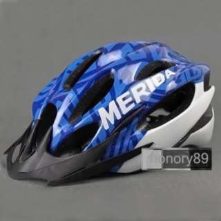 NEW Cycling Bicycle MERIDA Adult Mens Bike Helmet Blue with Visor