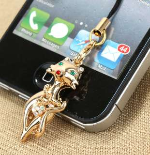 GP Fox Cat Necklace Swarovski Crystal Charm Cell Phone Strap Chain
