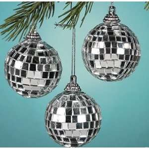 box of 12 silver Mirrored Disco Ball Christmas Ornaments