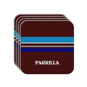 Personal Name Gift   PARRILLA Set of 4 Mini Mousepad Coasters (blue
