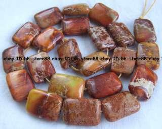 new13x19mm orange Terrain Jasper flat oblong Beads 15