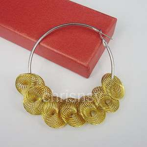 Free Ship Jewelry New Fashion Lady Earring 60mm Hoop Net Beads Gold