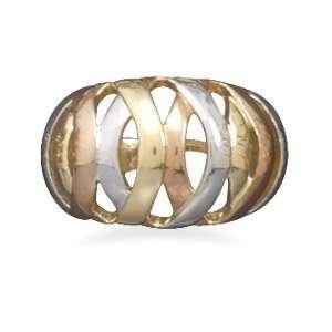 Rhodium and 14 karat gold plated tri tone domed basket weave design