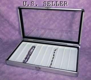 now free 10 slot bracelet necklace aluminum case white interior