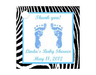 Boy Blue Zebra Print Baby Shower Favor Gift Tags Square Personalized