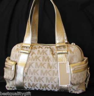 MICHAEL KORS HARRISON LARGE SATCHEL BEIGE GOLD BAG,PURSE NEW MR$428