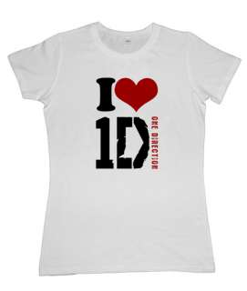 Girls White T shirt I Love One Direction XS S M L XL NEW All Sizes New