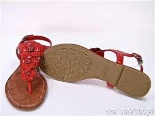 New NIB Coach Omega Red Patent Leather Flats Sandals 7
