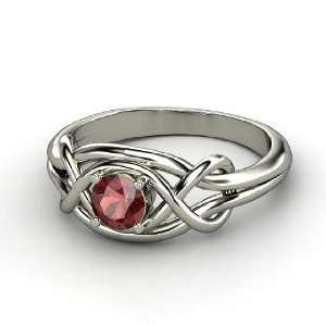 Infinity Knot Ring, Round Red Garnet 18K White Gold Ring Jewelry
