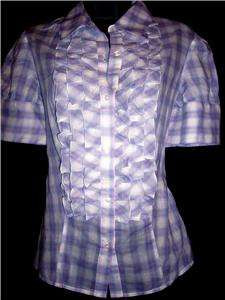 VICTORIAS SECRET Plaid Voile Ruffle front Shirt S (4 6)