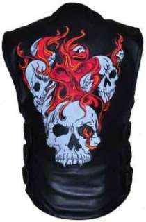 Mens Black SWAT Style Leather Reflective Flaming Skull Motorcycle