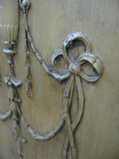 PAIR FABULOUS OLD VINTAGE DOORS Amazing Gesso Details Urns Bows Flower