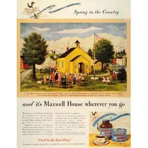 1946 Ad Maxwell House Coffee Spring Country Arbor Day   Original Print