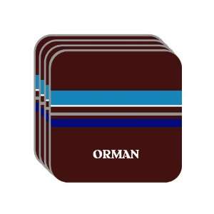 Personal Name Gift   ORMAN Set of 4 Mini Mousepad Coasters (blue
