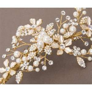 Beaded Floral Silver Bridal Hair Comb with Pearls and
