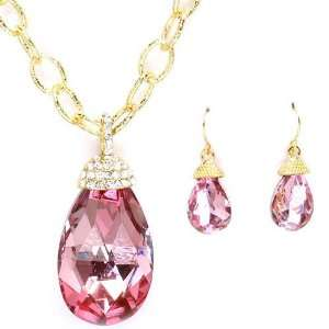 Fancy Gold Tone Sparkling Pink Glass and Clear Crystal