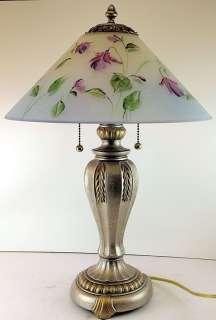 Fenton Reverse Painted Crystal Satin Shade Lamp