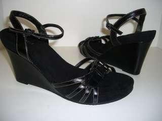 NINE WEST ARDIJANAZU NEW Womens Wedge Sandals Black Shoes US Size 11