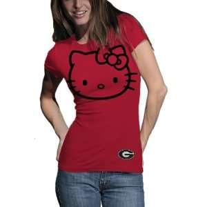 NCAA Georgia Bulldogs Hello Kitty Inverse Junior Crew Tee