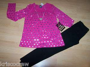 Girls Sz 4 POGO Club Outfit Set Top Pants Pink NEW