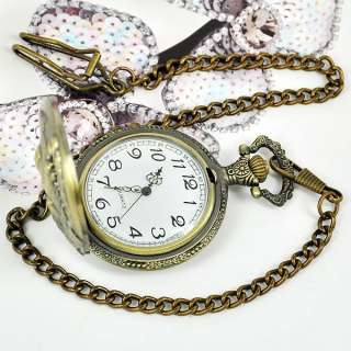 Broze Lively dragon Mens Women Chain Pocket Watch GIFT