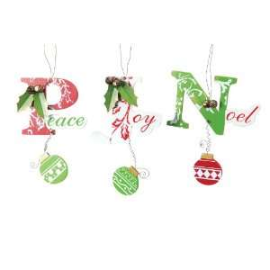 Chic Wooden Peace, Joy & Noel Christmas Ornaments
