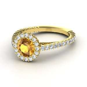 Raquel Ring, Round Citrine 14K Yellow Gold Ring with