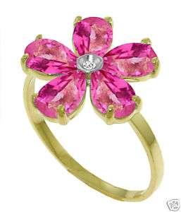 Natural Pink Topaz Gemstones Genuine Diamond Flower Ring 14K. Yellow