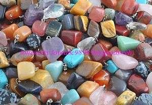 wholesale 50pieces natural stone silver tone Pendants