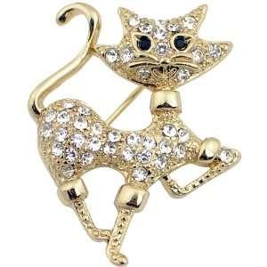 Austrian Crystal Cat Golden Kitty Animal Pin Brooch