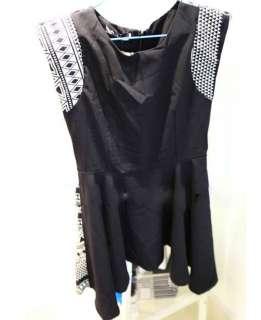 Retro Individuality Geometric patterns Shoulder pads Dress 2Color