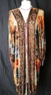 HAND PAINT ART BEADED KIMONO ROBE DUSTER OPERA COAT CHOCOLATE