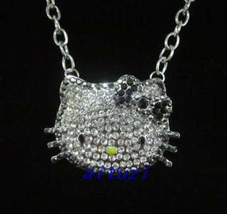 New HELLO KITTY High Quality Large Crystal black bow necklace xmas