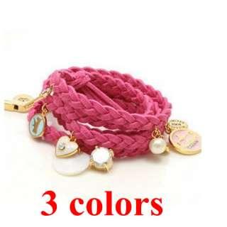 Hemp Heart Shell Leather weave Braided Bracelet Wristband Strap Wrap