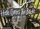 Here comes the bride sign reversible JUST MARRIED wedding decor barn