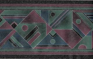 Teal Purple Silver Geometric Triangle Diamond Modern Wall paper Border