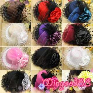 Women Cocktail Party Wedding Feather Rose Mini Top Hat Veil Fascinator