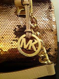 NEW MICHAEL KORS SUNTAN GOLD MEDIUM GRAYSON SEQUIN LEATHER SATCHEL BAG