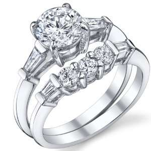 Engagement Ring Set with High Quality Cubic Zirconia Size 8 Jewelry