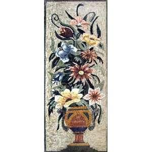 18x48 Flower Mosaic Art Tile Mural Wall Decor