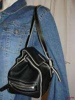 BFS02~$185 KENNETH COLE Black Leather 2 Strap Satchel Shoulder Bag