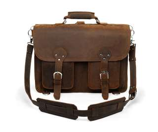 Extra Large Thick Full Grain Leather Briefcase Backpack Messenger