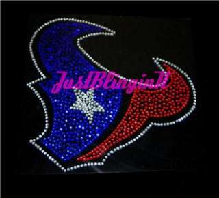 Houston Texans Logo Rhinestone Iron On Transfer Bling