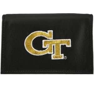 Georgia Tech Yellow Jackets Black Embroidered Tri Fold Wallet